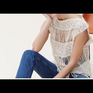 Crocheted Cream Fringe Top